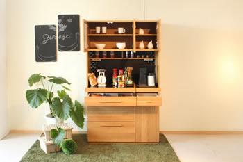 ホワイトオーク材仕様:キッチンボード(食器棚)日本製:完成品 70/105サイズ