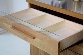 ホワイトオーク材仕様:120キッチンカウンター日本製:完成品