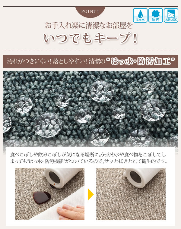 はっ水・防汚・防炎・制電機能付きタイルカーペット【raku-care】ラクケアの激安通販