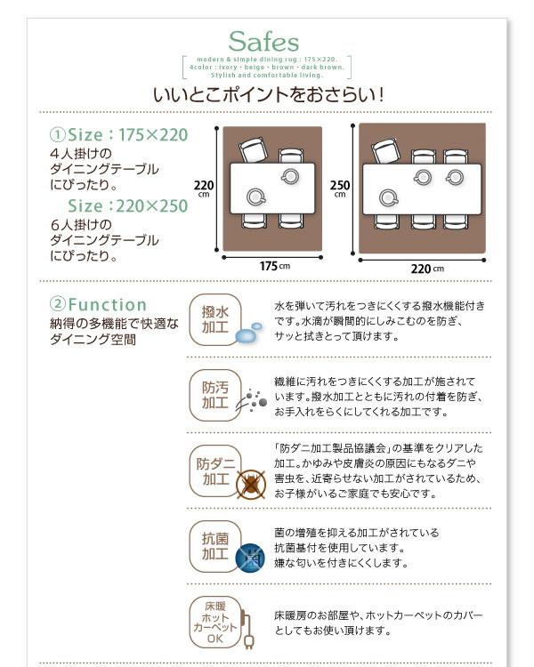 撥水・防汚・防ダニ・抗菌ダイニングラグ【Safes】サフィスの激安通販
