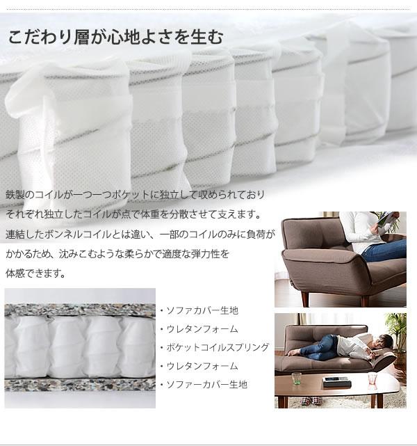 日本製ポケットコイル採用カウチソファー【KAN】の激安通販
