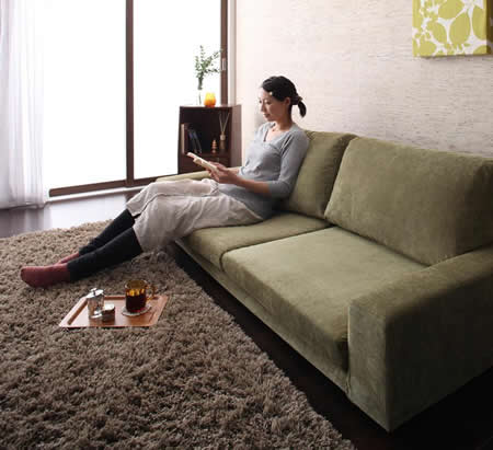 カバーリング仕様!ファブリックローソファー 選べる5サイズ 快適な座り心地
