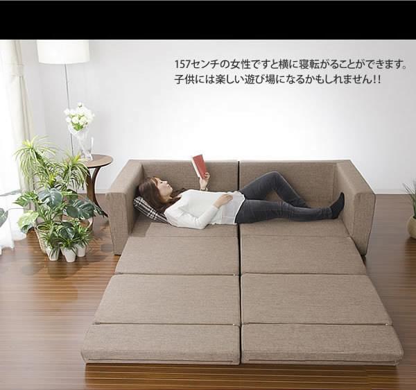 3人掛け以上のサイズにもなるソファーベッド【極楽】日本製の激安通販