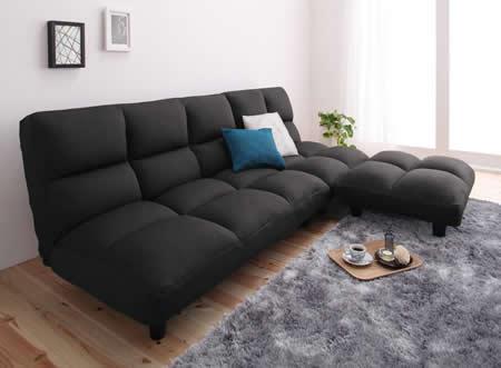 低反発素材使用。リクライニング機能付きコーナーソファー 人気のブラック