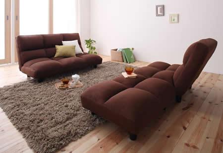低反発素材使用。リクライニング機能付きコーナーソファー セパレートスタイル