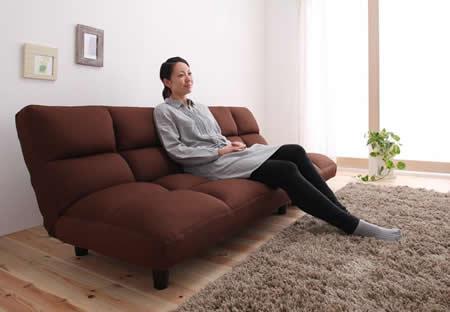 低反発素材使用。リクライニング機能付きコーナーソファー 長く座れます