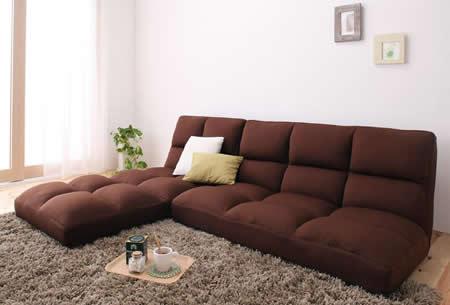 低反発素材使用。リクライニング機能付きコーナーソファー フロアタイプでも使用可能