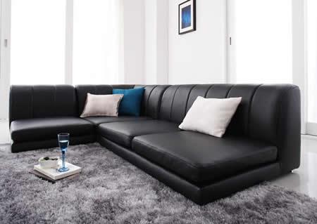 フロアコーナーソファー【COLT】コルト ブラック:落ち着きを感じさせる大人色。