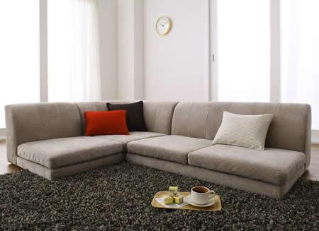 カバーリングフロアコーナーソファー【COLTY】コルティ ベージュ:高級感のある色。