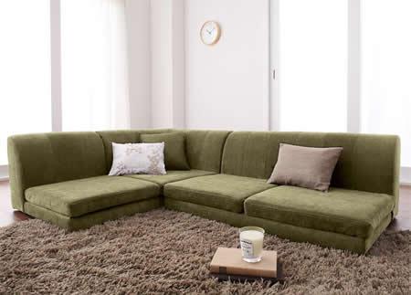カバーリングフロアコーナーソファー【COLTY】コルティ モスグリーン:部屋のアクセントになるおしゃれ色。