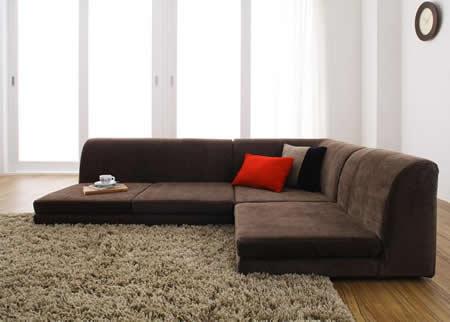 カバーリングフロアコーナーソファー【COLTY】コルティ ブラウン:温かみのある色。