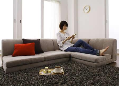 カバーリングフロアコーナーソファー【COLTY】コルティ 広く見えるフロアソファー