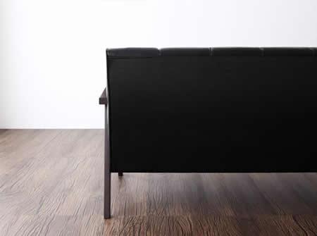 レトロデザイン木肘レザーソファー【LARZ】ラーズ 一人掛け/二人掛け/三人掛け