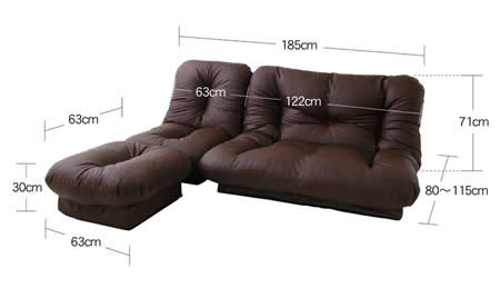 コーナーリクライニングソファー「feeta」フィータ ソファー時サイズ