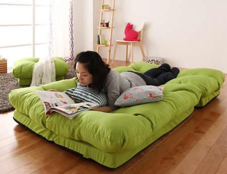 フロアコーナーカウチリクライニングソファ【tafito】タフィト ソファーベッドのようにも使用