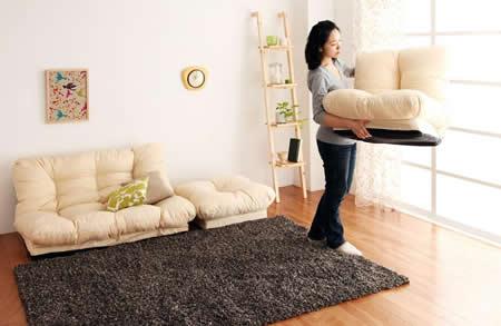 フロアコーナーカウチリクライニングソファ【tafito】タフィト 持ち運びも簡単