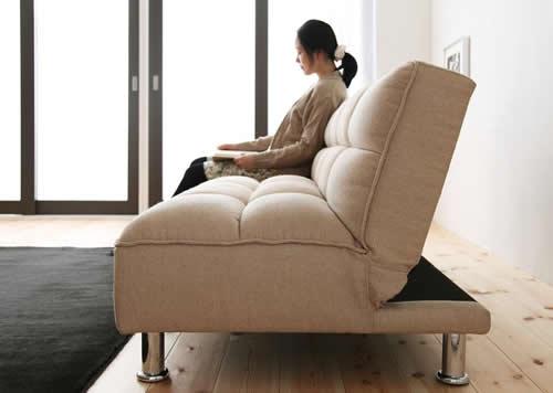 ファブリックタイプシンプルソファーベッド 厚みのクッション