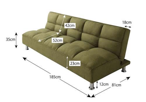 ファブリックタイプシンプルソファーベッド ソファー時サイズ