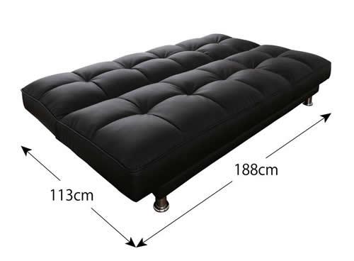 3スタイルレザーソファーベッド ベッド時サイズ