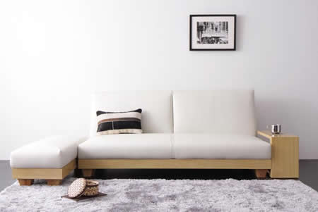 サイドテーブル&オットマン付きソファーベッド
