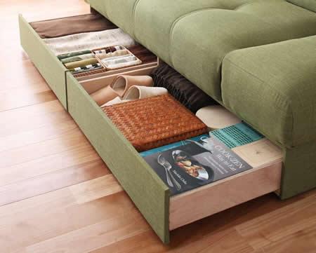 スツール付き 日本製マルチソファーベッド:収納付き 収納付き