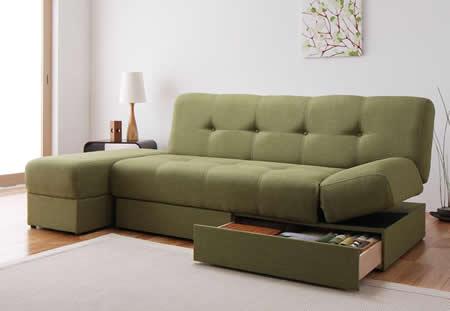 スツール付き 日本製マルチソファーベッド:収納付き モスグリーン