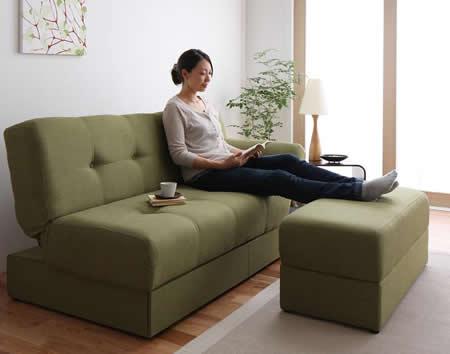 スツール付き 日本製マルチソファーベッド:収納付き スツールでリラックススタイル