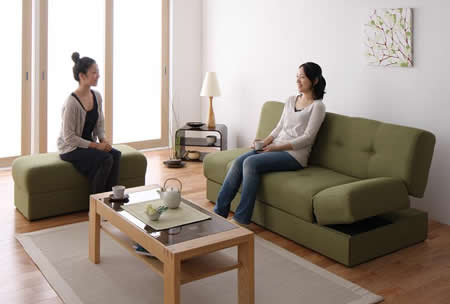 スツール付き 日本製マルチソファーベッド:収納付き 来客時に対応可能