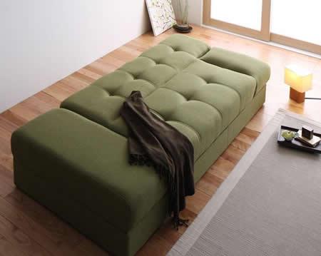 スツール付き 日本製マルチソファーベッド:収納付き 振るフラットリクライニングでベッドにも