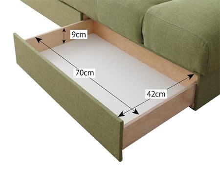 スツール付き 日本製マルチソファーベッド:収納付き 引き出しサイズ