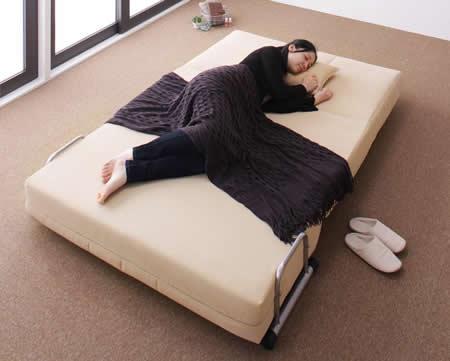 セミダブルサイズ カウチソファーベッド【L/G】エル・ジー 寝るときも広々
