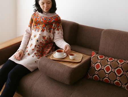 マルチソファーベッド【noix】ノワ リビングテーブルが無くても大丈夫