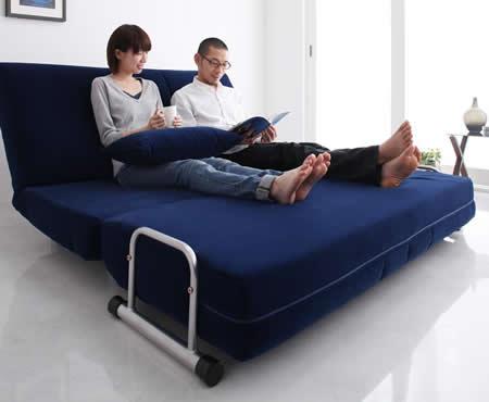 ふたりで寝られるダブルサイズカウチソファーベッド【ROLLY】ローリー カウチスタイルでも広々