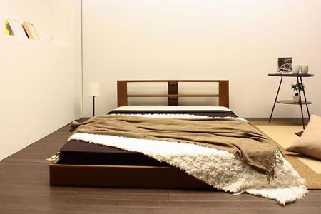 オールレザーデザイン棚付フロアタイプセミシングルベッド265 ブラウン正面