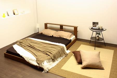 オールレザーデザイン棚付フロアタイプセミシングルベッド265 ブラウン
