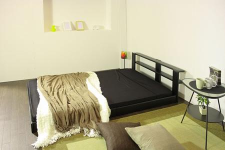 オールレザーデザイン棚付フロアタイプセミシングルベッド265 ブラック
