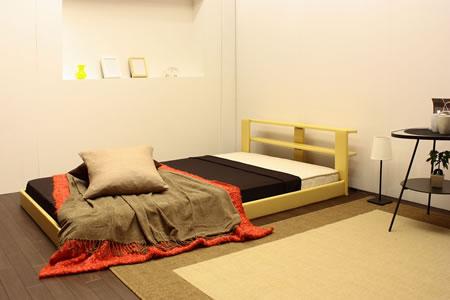 オールレザーデザイン棚付フロアタイプセミシングルベッド265ナチュラル