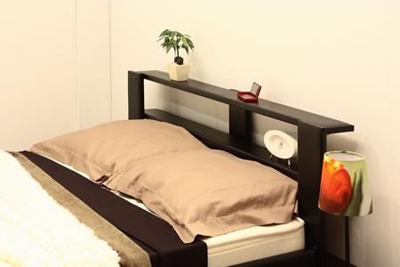 オールレザーデザイン棚付フロアタイプセミシングルベッド265 ブラックヘッドアップ