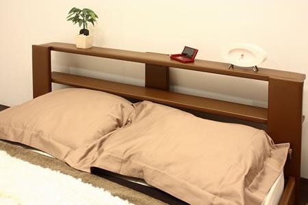 オールレザーデザイン棚付フロアタイプセミシングルベッド265 ブラウンヘッドアップ