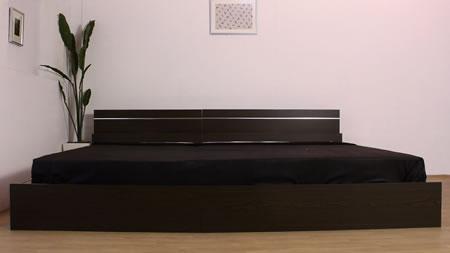 シンプル棚・間接照明付シルバーラインベッド 285