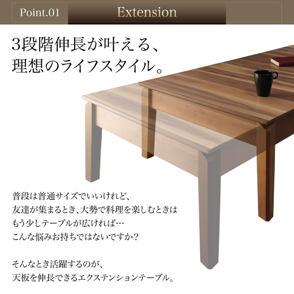 3段階伸長式 天然木ウォールナットエクステンションリビングテーブル【Adele】アデルの激安通販