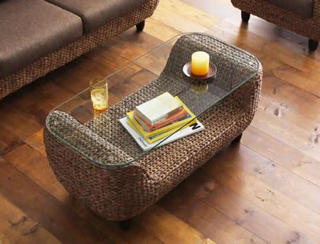 アジアン家具 ウォーターヒヤシンスシリーズ 【Wyja】 テーブル 小物も収納できます。