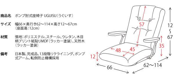 立ち上がりが楽!ポンプ肘付きリクライニングサイズ【UGUISU】うぐいすの激安通販